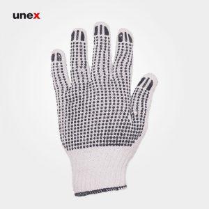 دستکش بافتنی خالدار دورو سفید