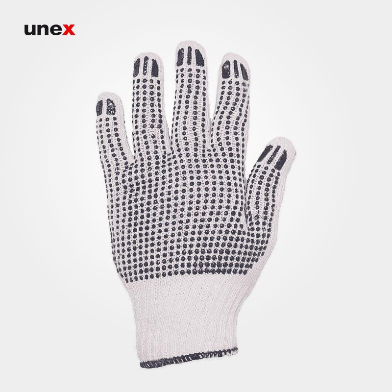 دستکش بافتنی خالدار دو رو, دستکش ایمنی بافتنی خالدار مناسب مونتاژ کاری