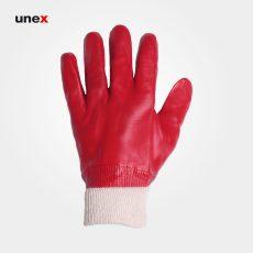 دستکش لاستیکی همه کاره مچ کش دار گلی قرمز