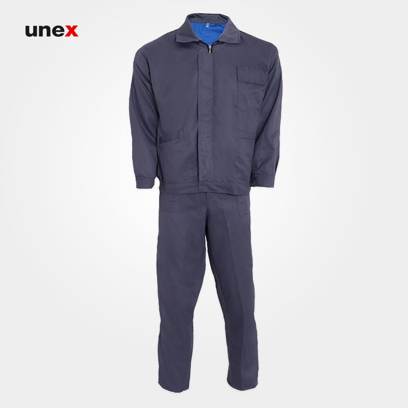 لباس کار کاپشن و شلوار ایران خودرویی، ابزار ایمنی شهپر، لباس کار صنعتی، طوسی، ایرانی
