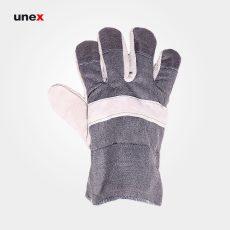 دستکش کف چرم یونکس طوسی سفید