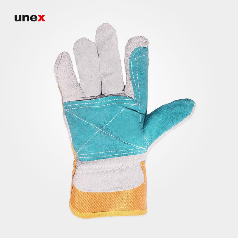 دستکش کف چرم دوبل مهندسی, دستکش ایمنی مهندسی با چرم گاوی در رنگهای متنوع