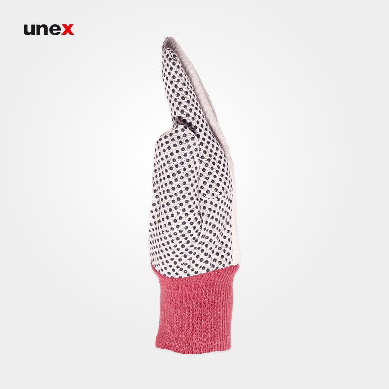 دستکش کتان خالدار, دستکش ایمنی ایرانی با مچ کش بافت