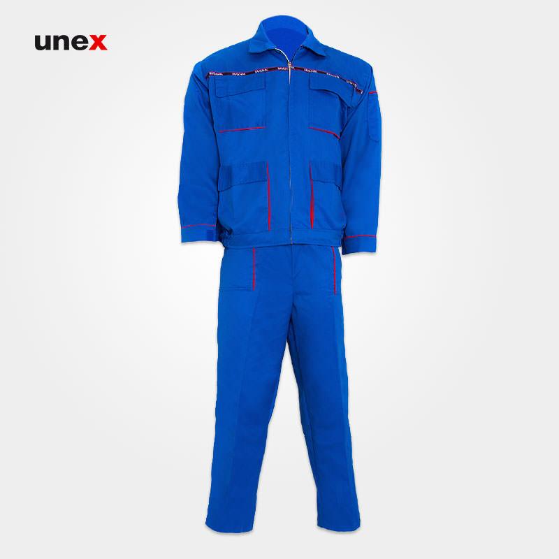 لباس کار کاپشن و شلوار سیلوری، ابزار ایمنی شهپر، لباس کار صنعتی، آبی، ایرانی