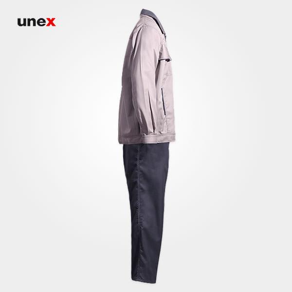 لباس کار کاپشن و شلوار یونکس Unex، لباس کار صنعتی، طوسی روشن، ایرانی