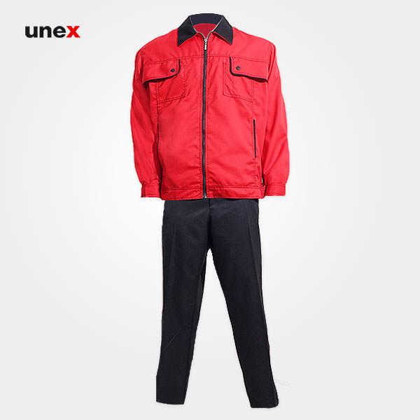 لباس کار کاپشن و شلوار یونکس – UNEX، لباس کار صنعتی، قرمز، ایرانی