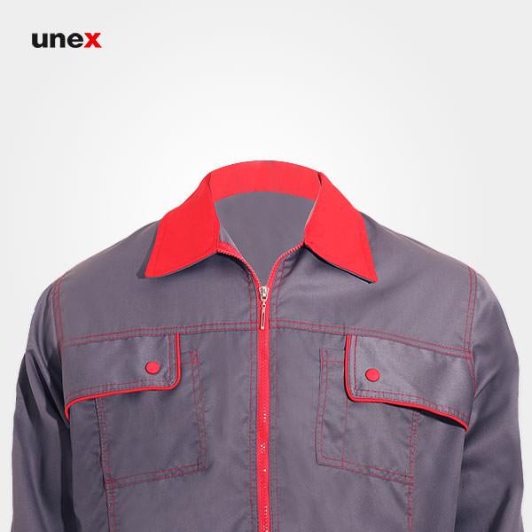 لباس کار کاپشن شلوار یونکس Unex، لباس کار صنعتی، طوسی تیره، ایرانی