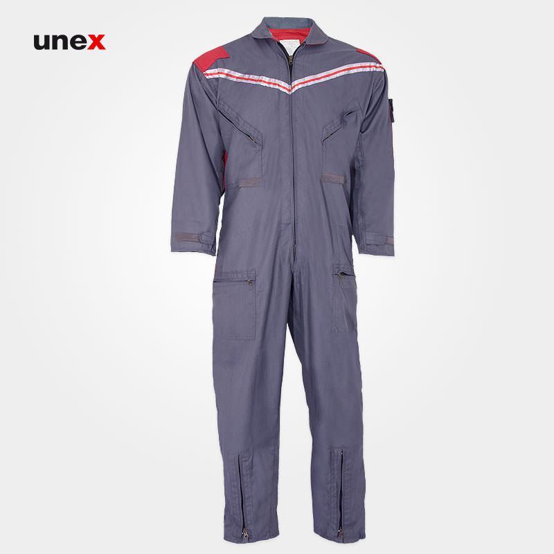 لباس کار یکسره طرح کانادایی، ابزار ایمنی شهپر، لباس کار صنعتی، طوسی – قرمز، ایرانی