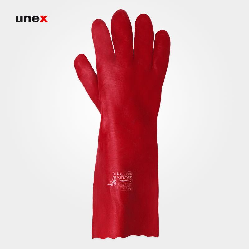 دستکش ضد اسید بلند , دستکش ایمنی نیتریل قرمز ضد اسید، چینی