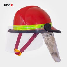 کلاه آتش نشانی FFH با نقاب و پشتی نسوز قرمز