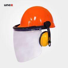 کلاه ایمنی با گوشی و شیلد سفید طرح JSP