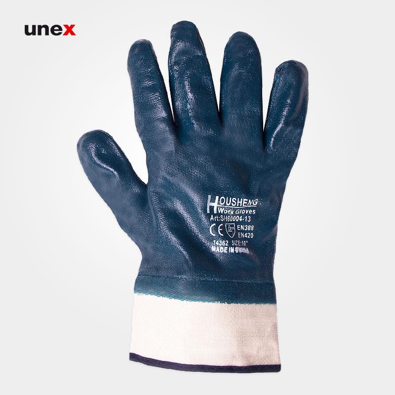 دستکش مواد نفتی مچ کتان, دستکش ایمنی کتان, دستکش مکانیکی شهپر