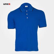 تی شرت یونکس دکمه دار سفید و آبی