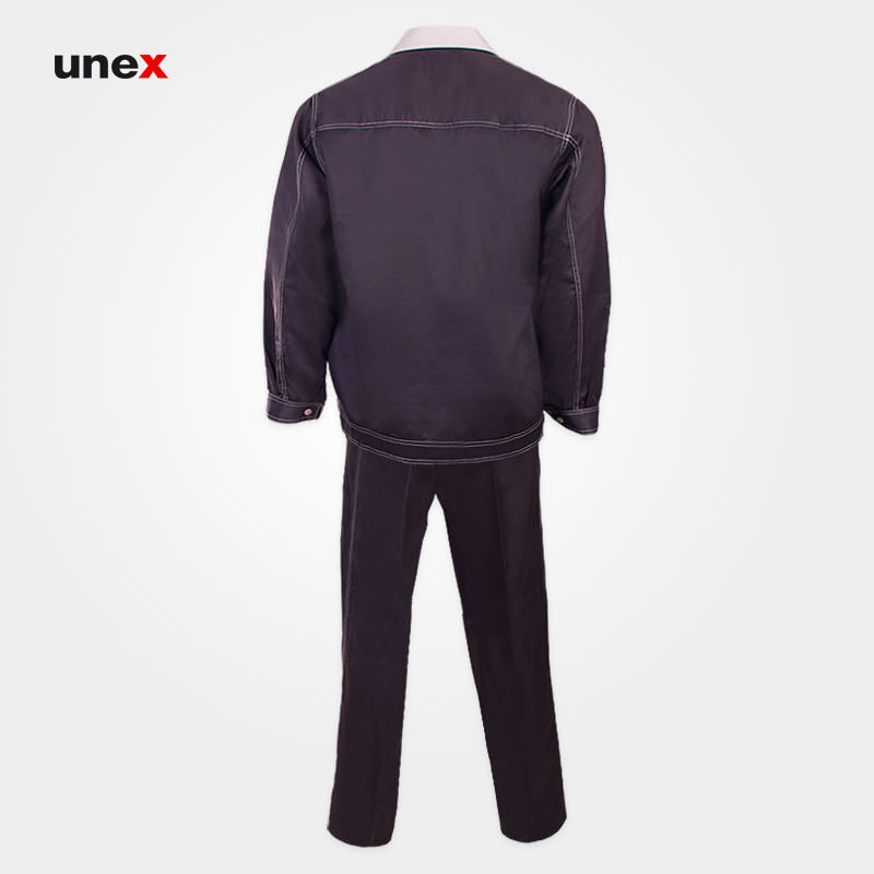 لباس کار یونکس Unex قهوه ای, لباسکار دکمه ترک چهار پارچه