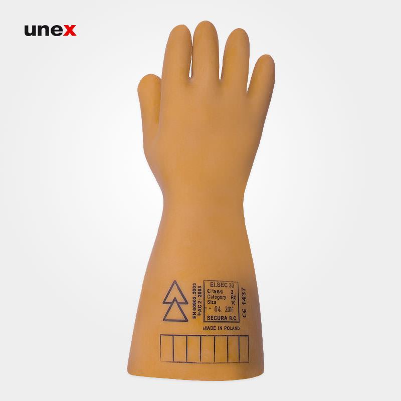 دستکش عایق برق کلاس سه – ۳، ۳۰۰۰۰ ولت، السک – ELSEC ، دستکش عایق برق ، رنگ کرم