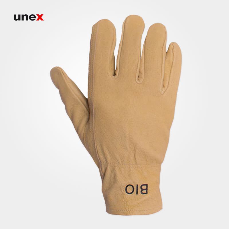 دستکش آرگون جوشکاری کوتاه ، تمام چرم ، بیو – BIO ، دستکش چرمی ، رنگ کرم