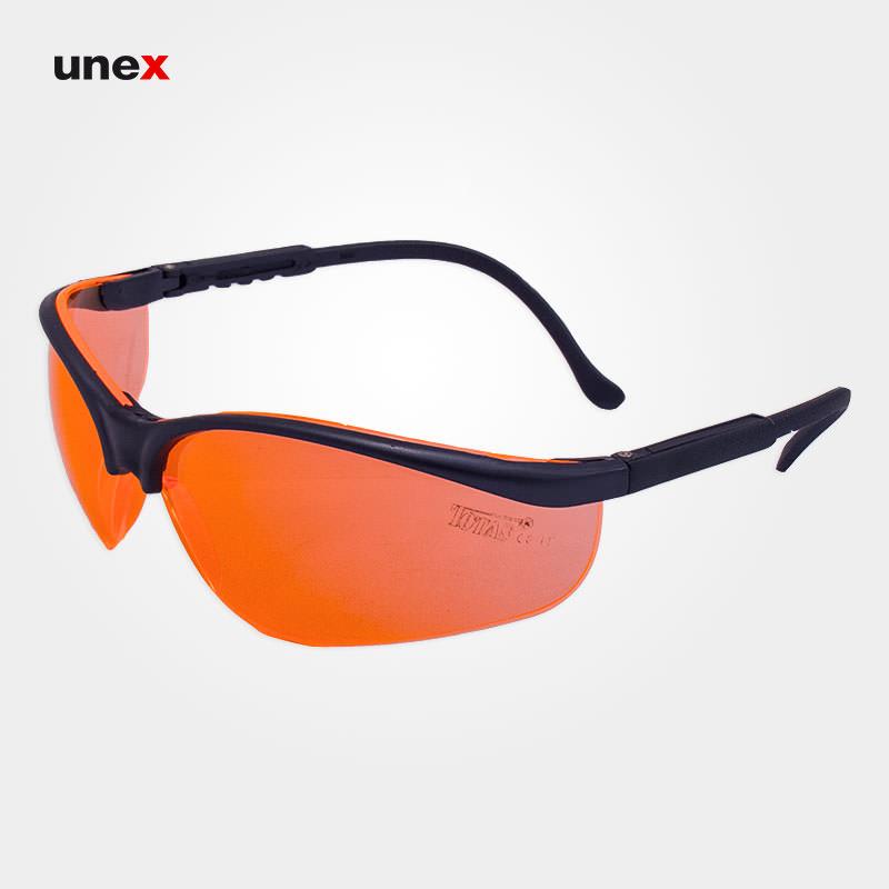 عینک ایمنی ای تی صد و چهارده – AT 114 ، توتاص – TOTAS ،عینک فریم دار ، رنگ آبی لاجوردی (کوره ای) و نارنجی