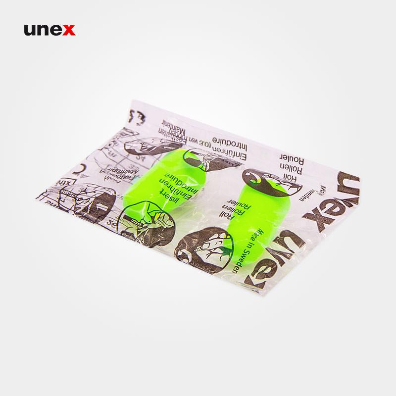 صداگیر اسفنجی طرح یووکس - UVEX ، بدون بند ، گوشی ایمنی داخل گوش ، رنگ سبز فسفری