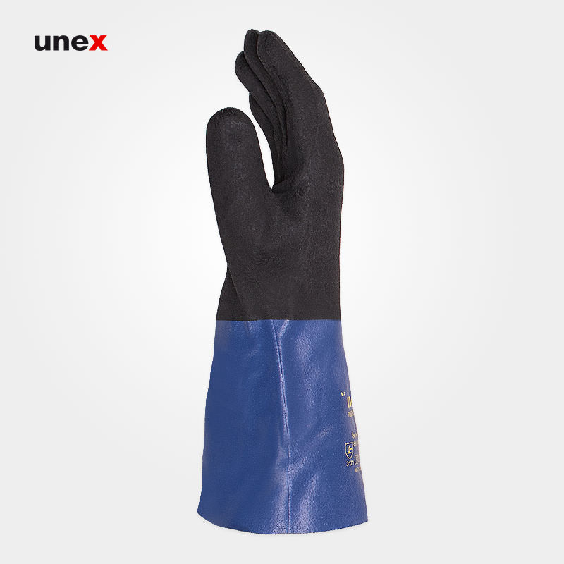 دستکش اکتی فرش - ACTIFRESH ، یووکس - UVEX ، دستکش مقاوم شیمیایی ، رنگ آبی - مشکی