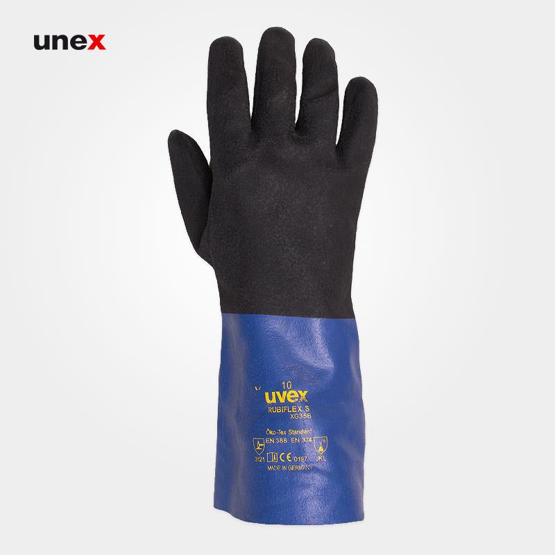 دستکش اکتی فرش – ACTIFRESH ، یووکس – UVEX ، دستکش مقاوم شیمیایی ، رنگ آبی – مشکی
