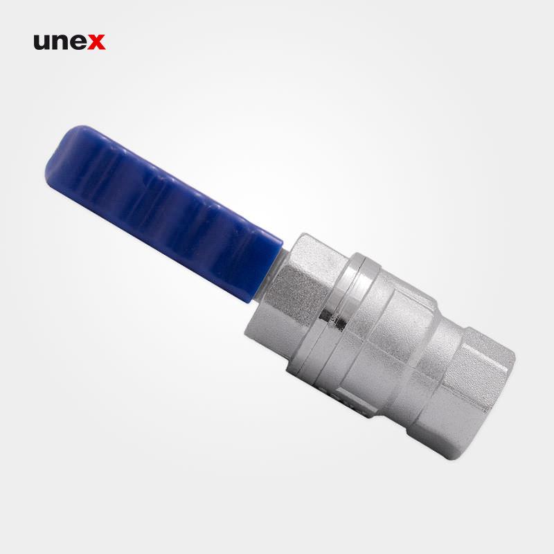 شیر فلکه گاز ، آلومینیومی ، ۳/۴ اینچ ، ابزار ایمنی شهپر ،رنگ نقره ای – آبی ،ساخت ایران