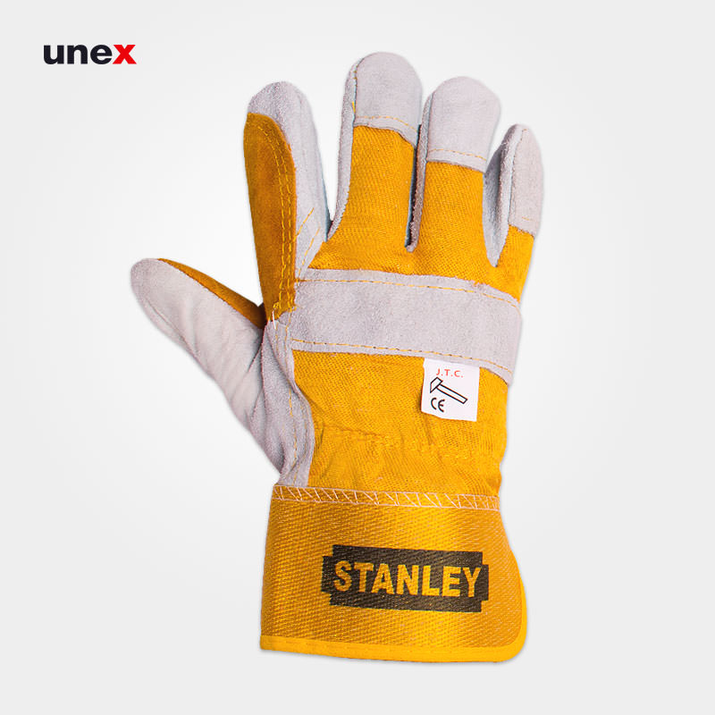 دستکش چرمی کف دوبل ، استنلی – STANLEY ، دستکش چرمی، رنگ نارنجی