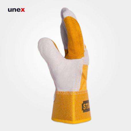 دستکش چرمی کف دوبل ، استنلی - STANLEY ، دستکش چرمی، رنگ نارنجی