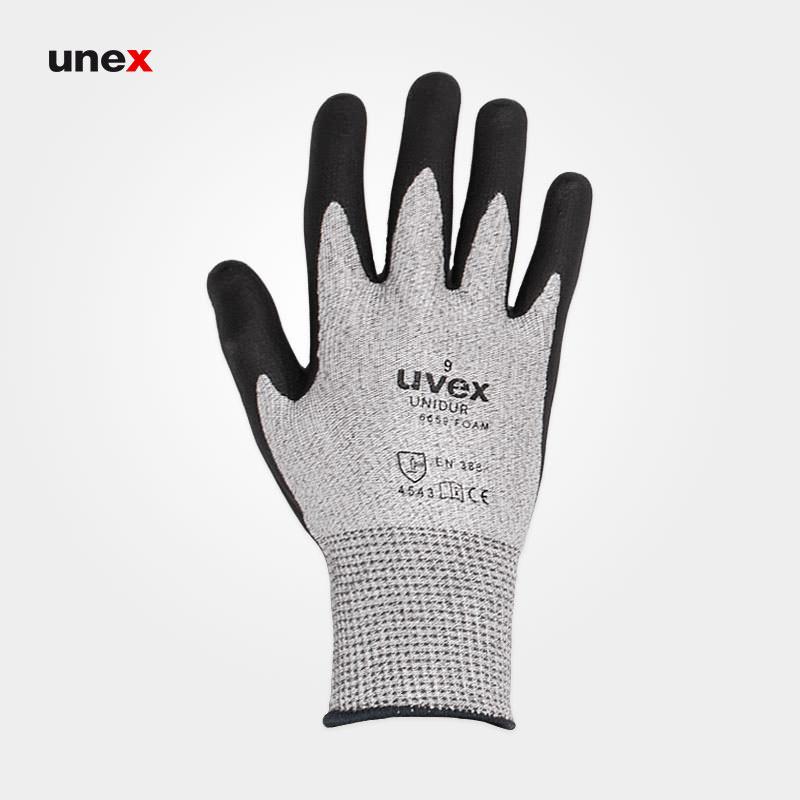 دستکش ضد برش شش هزار و ششصد و پنجاه و نه – ۶۶۵۹ ، یووکس – UVEX ، دستکش ضد برش ،  رنگ طوسی
