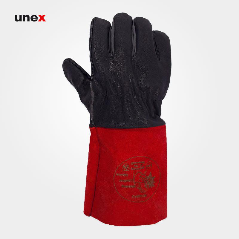 دستکش جوشکاری آرگون ، آی تی سی او – I.T.CO ، ابزار ایمنی شهپر ، دستکش چرمی ، رنگ مشکی – قرمز، ساخت ایران