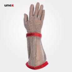 دستکش فلزی ضد برش ساق بلند، ام جی MG2212،دستکش قصابی, آلمانیSCHLACHTHAUSFREUND، نقره ای