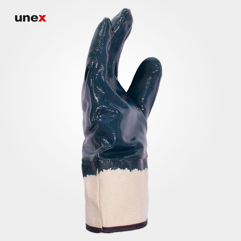 دستکش ساقدار نیتربلی، هائولی پانصددو اف – HAOLI 5002F، هائولی – HAOLI، دستکش نیتریلی، آبی، ساخت چین