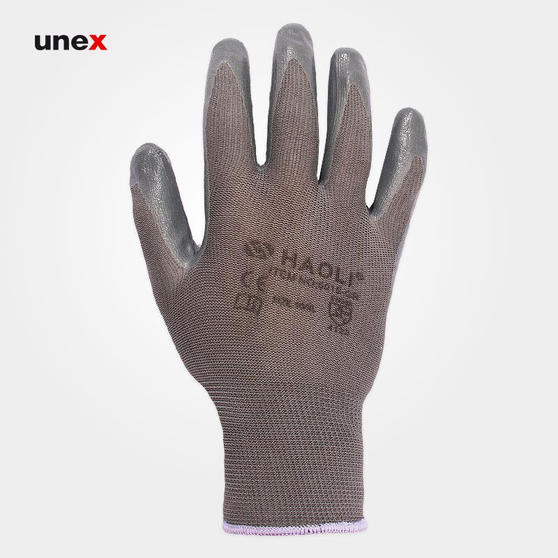 دستکش مچ کشدار کف نیتریلی، پنج هزار و پانزده – HAOLI 5015، هائولی – HAOLI، دستکش نیتریلی، رنگ طوسی