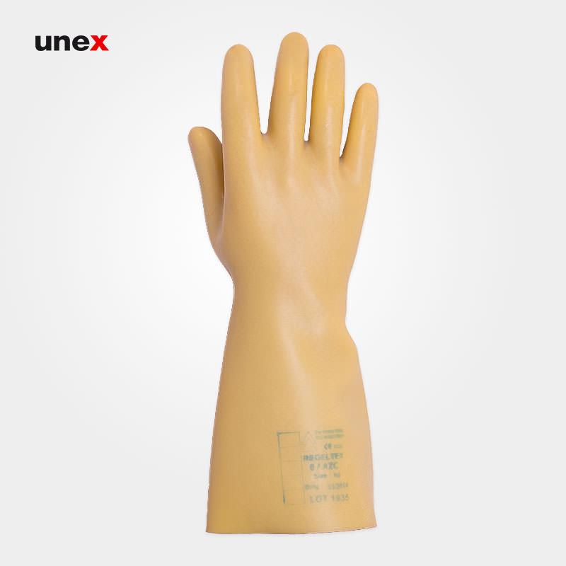 دستکش عایق برق کلاس دو – ۲ ، بیست هزار – ۲۰۰۰۰ ولت ، رگلتکس -REGELTEX ، دستکش عایق برق،  رنگ زرد ، ساخت فرانسه