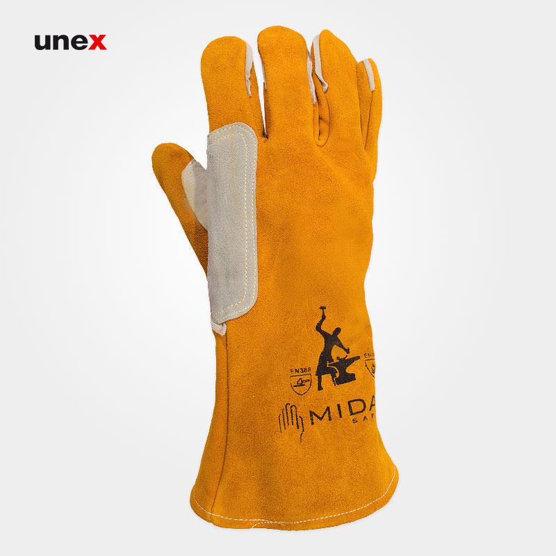 دستکش نسوز روکش چرم ، میداس – MIDAS ، ابزار ایمنی شهپر ، دستکش چرمی ، رنگ خردلی ، ساخت ایران