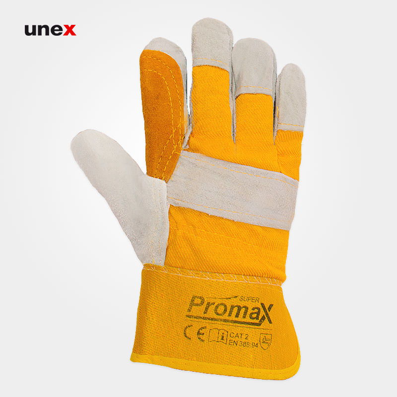 دستکش اشبالتی برزنتی کف دوبل، پرومکس – PROMAX ، دستکش چرمی ، ساخت پاکستان