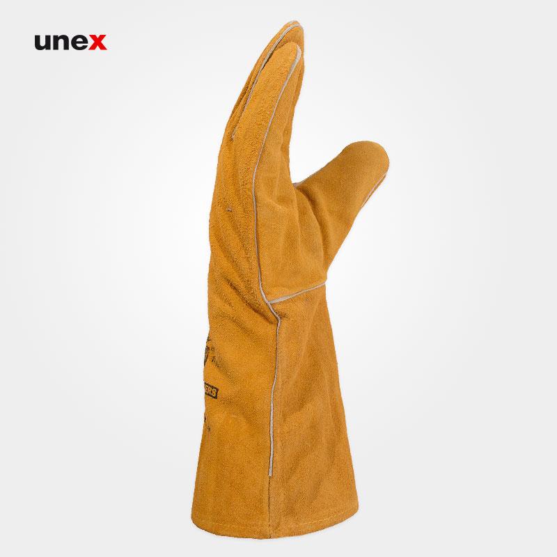 دستکش هوبارت آستر دار ، ابزار ایمنی شهپر ، دستکش چرمی ، رنگ خردلی ، ساخت پاکستان