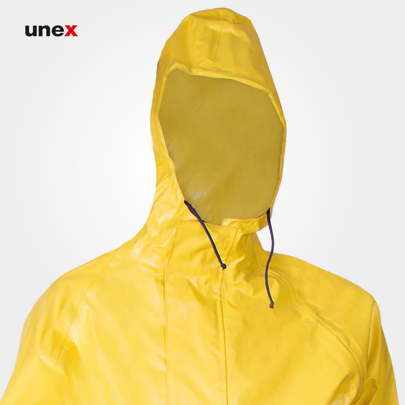 لباس یکسره شیمیایی کلاه دار نیل پرن - NYLPRENE، تاکونی - TACCONI، لباس کار شیمیایی، زرد، ساخت ایتالیا