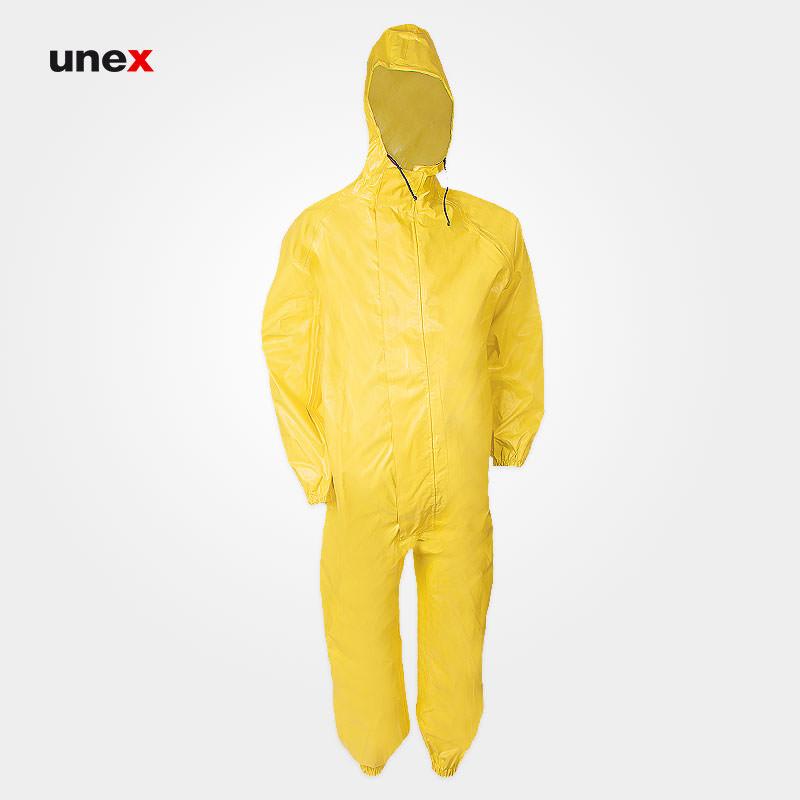 لباس یکسره شیمیایی کلاه دار نیل پرن – NYLPRENE، تاکونی – TACCONI، لباس کار شیمیایی، زرد، ساخت ایتالیا
