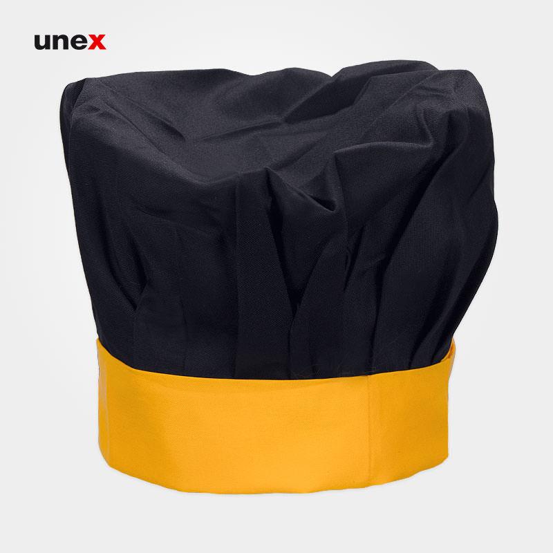 کلاه پفکی سرآشپز ، ابزار ایمنی شهپر ، کلاه آشپزی ، رنگ مشکی - زرد ، ساخت ایران