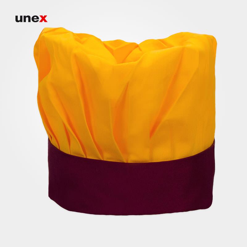 کلاه پفکی سرآشپز ، ابزار ایمنی شهپر ، کلاه آشپزی ، رنگ زرد - زرشکی ، ساخت ایران