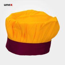 کلاه پفکی سرآشپز ، ابزار ایمنی شهپر ، کلاه آشپزی ، رنگ زرد – زرشکی ، ساخت ایران