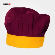 کلاه پفکی سرآشپز ، ابزار ایمنی شهپر ، کلاه آشپزی ، رنگ زرشکی – زرد ، ساخت ایران