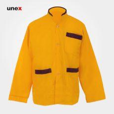 لباس کار رستورانی آشپزی ، ابزار ایمنی شهپر ، لباس کار صنعتی ، رنگ زرد ، در سایز های مختلف