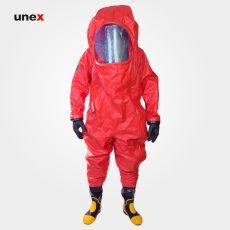 لباس ضد گاز پی وی سی – MKF 06 ،PVC، چین MEIKANG، لباس کار شیمیایی، قرمز، ساخت چین