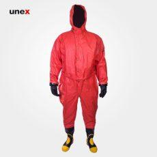 لباس مقاوم در مقابل مایعات و بخارات شیمیایی، MKF 07 FFH، چین MEIKANG، لباس کار شیمیایی، قرمز، ساخت چین
