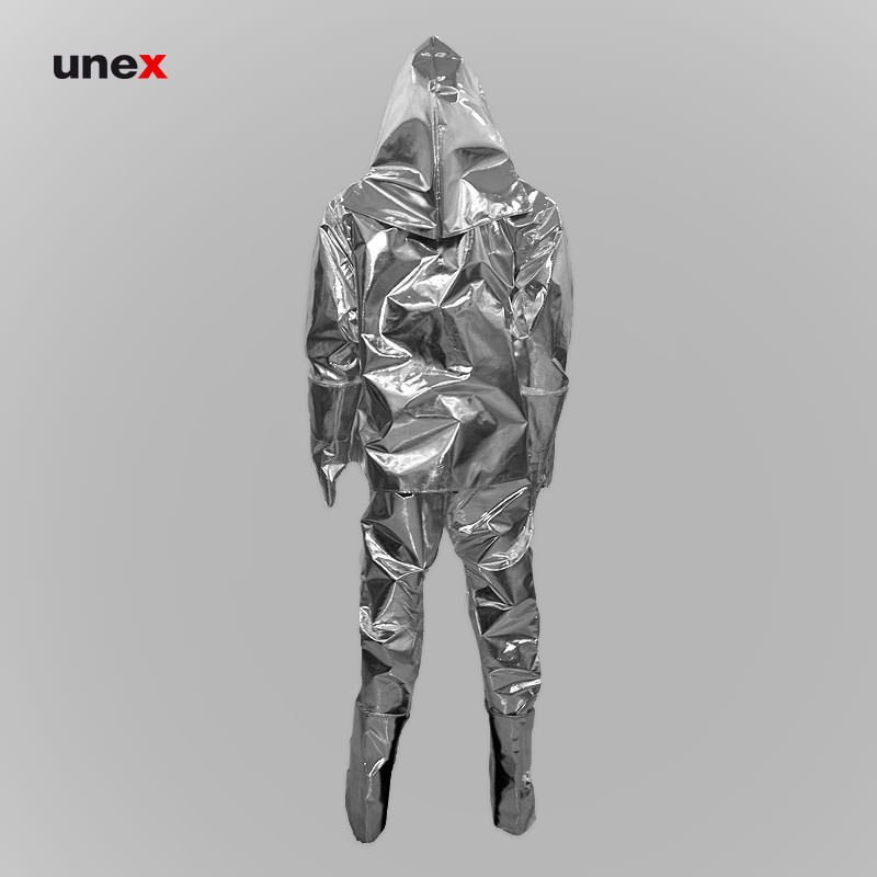 لباس نسوز آلومینیومی ۵ تکه، ابزار ایمنی شهپر، لباس آلومنیومی عبور از آتش، نقره ای، ژاپنی