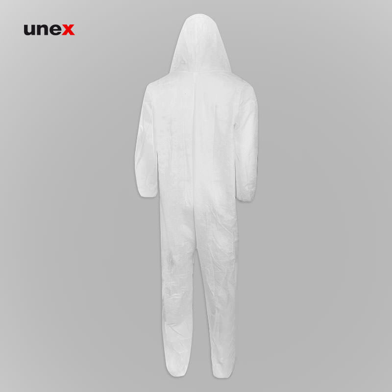 لباس کار یکبار مصرف یکسره ضخیم، ابزار ایمنی شهپر، لباس کار صنعتی، سفید، ایرانی