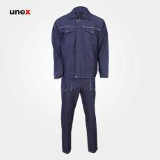 لباس کار کاپشن شلوار جین جوشکاری،ابزار ایمنی شهپر، لباس کار صنعتی، خاکستری، ایرانی