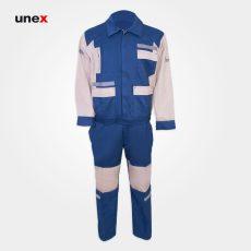 لباس کار یونکس مهندسی شبرنگی آبی کرم