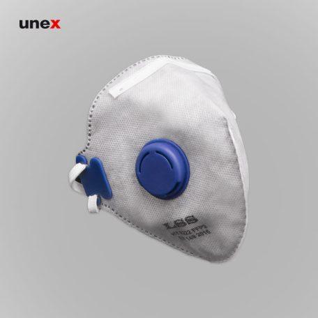 ماسک تاشو سوپاپ دار LSS 8222 FFP2، ابزار ایمنی شهپر، ماسک های سوپاپ دار، طوسی، ایرانی